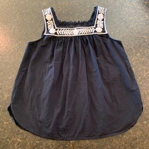LOFT Embroidered Navy Top Sz S